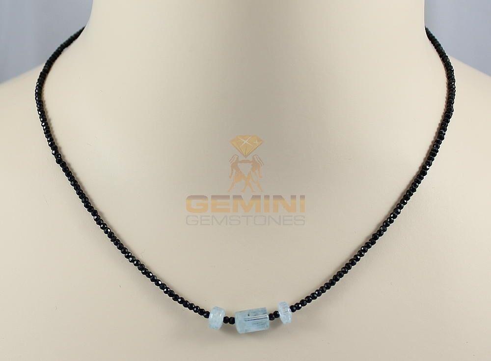 blacke Spinell Kette mit Aquamarin Kristallen Halskette Gemini Gemstones