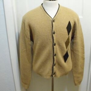 VTG-Parkley-brown-Shetland-Wool-Cardigan-Suede-Diamond-VLV-Large-Rockabilly