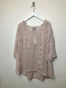 Womens-Johnny-Was-Ridden-Blouse-Shirt-Top-Size-XS-Pink-Embroidered-3-4-Sleeve