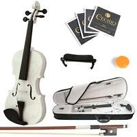 Mendini Size 4/4 Solidwood Violin Metallic White+shoulderrest+extrastrings+case on Sale