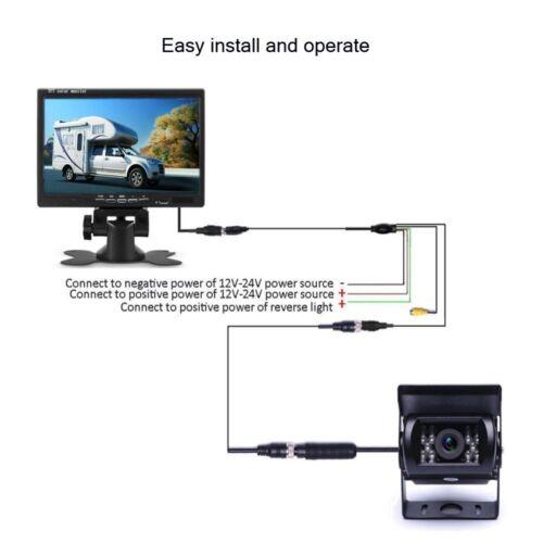 "7/"" Heavy Duty Parking Monitor Pair Night Vision Backup Camera For Truck//RV//Bus"