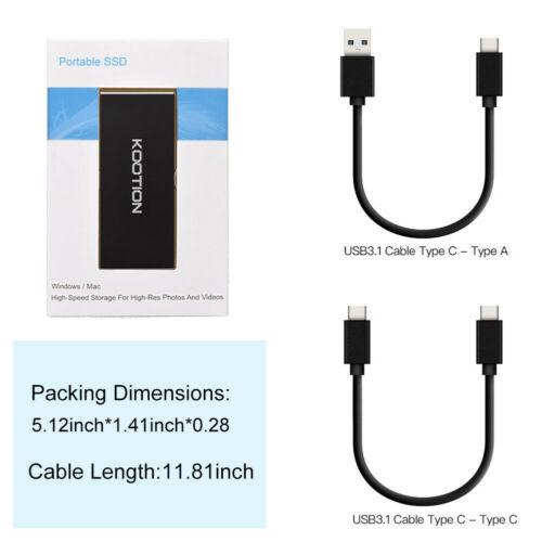USB 3.0 1TB SSD Hard Drive 500MB//s Portable External SSD Backup Drive Desktop