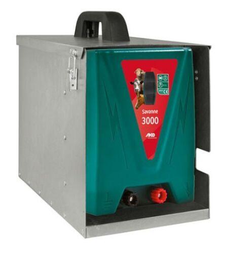 AKO 12 V  Weidezaungerät Savanne 3000  inkl Metallbox Akkugerät Batteriegerät
