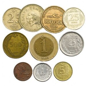 LOT-MIXED-10-TURKISH-COINS-TURKEY-COLLECTIBLE-COINS-KURUS-BIN-LIRA-1957-2018