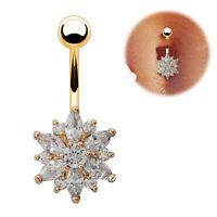 Clear CZ Gem Bar Body Piercing Gold Plated Flower Navel Ring Belly UK Seller
