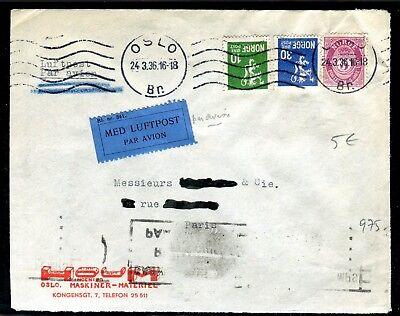 Norvège - Enveloppe Commerciale De Oslo Par Avion Pour La France En 1936 Het Comfort Van Het Volk Aanpassen