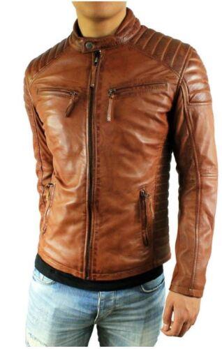 Giacca L Giacca da Cognac Vera in agnello in pelle uomo pelle Biker in 2xl pelle pelle di liscia aHgaqWr