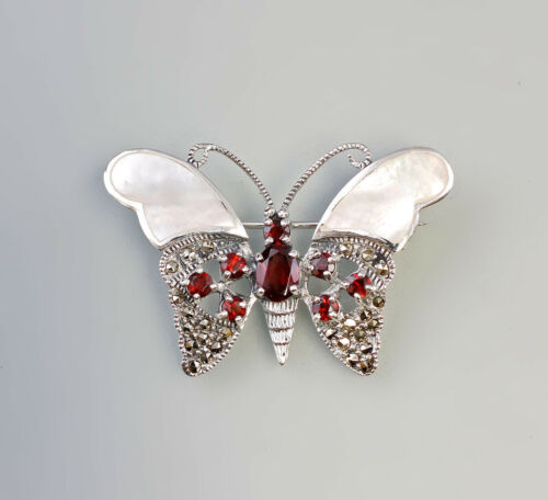 9927312 925er Silber Markasiten Brosche Schmetterling Perlmutt Granat 5x3,5cm