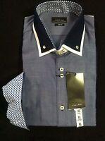 Zara Mens Blue 100%cotton Dress Shirt Slim Fit Double Collar Size:xl
