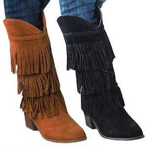 discount shop 2018 sneakers lowest discount Details about Womens Fringe Boots Suede Block High Heels Mid Calf Boots  Moccasin Shoes Size 10
