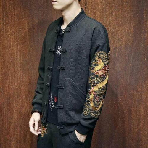 Chinese Style Embroidery dragon Men/'s Casual Jacket baseball Coat Tang Suit Tops