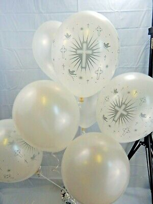 Helium//Air Balloons Pearl White//Gold Cross//Doves Christening Communion Baptism