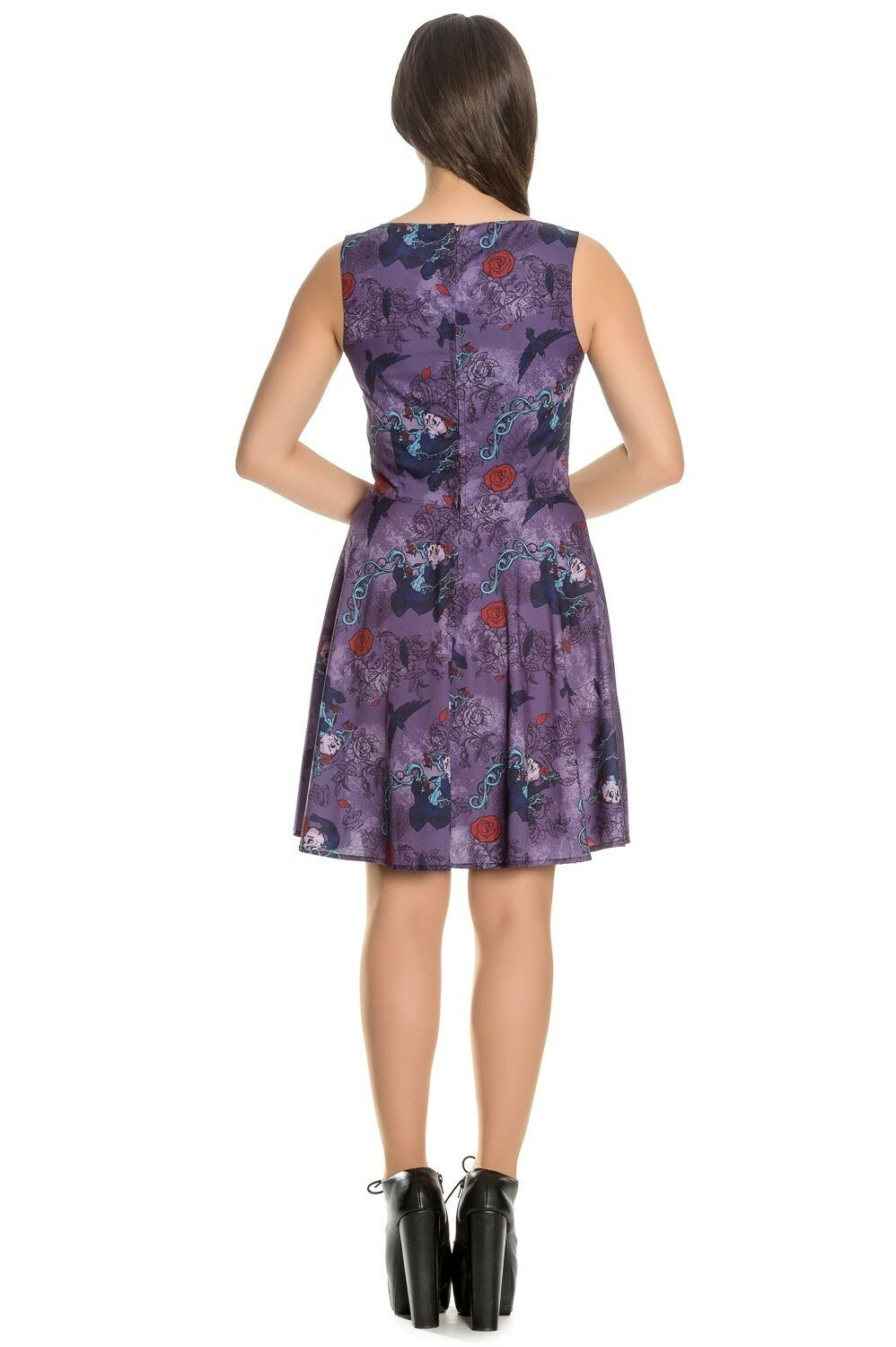 8d9d836f684 ... Hell Bunny Spin Doctor Skull Raven Purple Dress 8-22 Plus Plus Plus Size  Goth ...