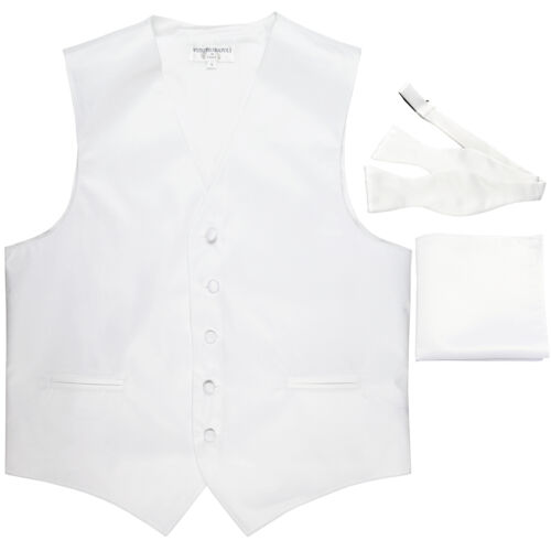 New Men/'s white formal vest Tuxedo Waistcoat self tie bow tie and hankie set