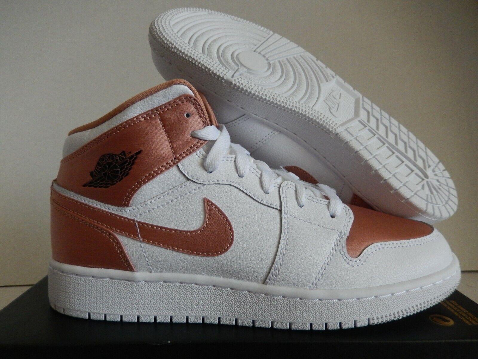 Nike Air Jordan Retro 1 Mid Rose Gold White 555112-190 GS 7y Youth ...