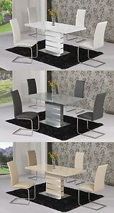 Image is loading MACE-High-Gloss-Extending-120-160-Dining-Table- & MACE High Gloss Extending 120-160 Dining Table \u0026 Chair Set - WHITE ...