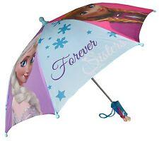 "Disney Frozen Forever Sisters Girls 21"" Umbrella w/Handle of Anna & Elsa"