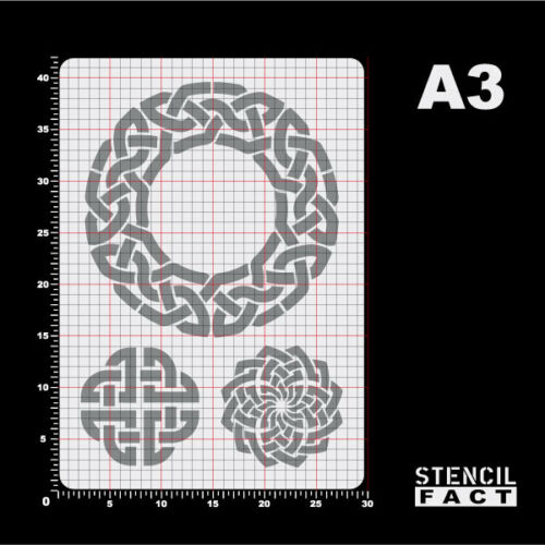 BS377 A3 Schablone Keltische Knoten 3 Knotenmuster Celtic Knot