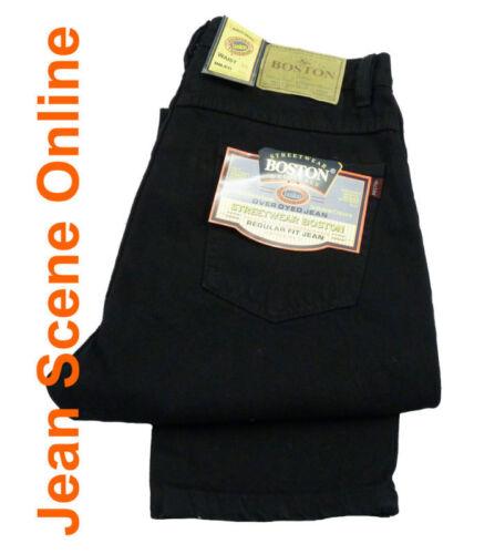 New Men/'s Boston Regular Fit Jeans Straight Leg Black Denim Pants All Sizes