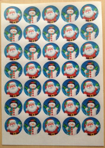 Christmas Santa /& Snowman Precut Rice Wafer Paper Cupcake Cake Bun Toppers