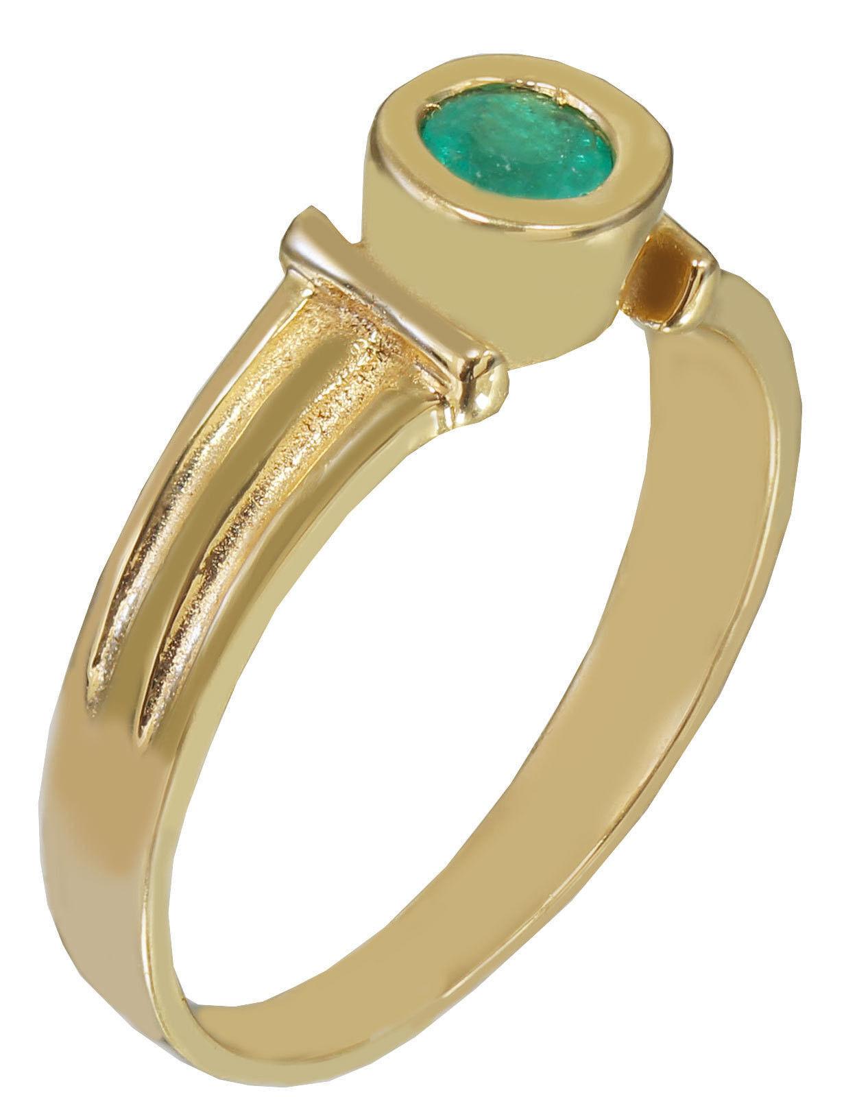 18k Yellow gold Round Cut Emerald Bezel Set Art Deco Style Bridal Wedding 1.00ct