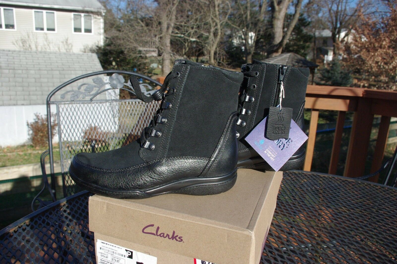 NIB Clark's Ladies Kearns Sirena Lace Up Winter Ankle Boots Lined Warm 6 1 2 M