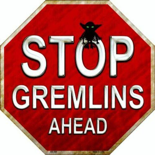 "Stop Gremlins Ahead Halloween Humor Metal Sign 12/"" Wall Decor DS"