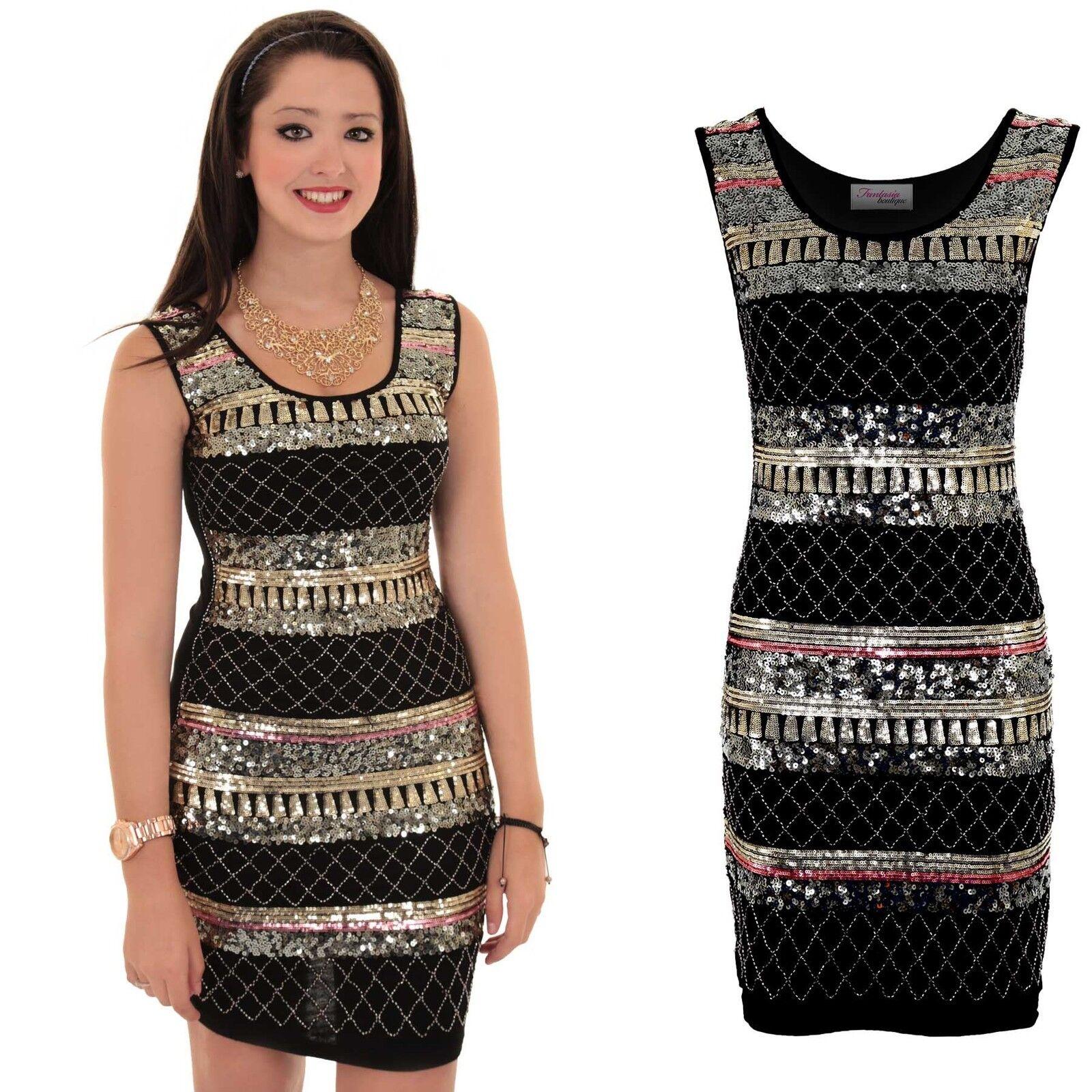 Womens Sleeveless Sequin Shiny Aztec Print Party Smart Mini Bodycon Dress
