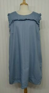 Lane-Bryant-sz-18-dress-light-blue-chambray-denim-shift-jean-pockets-ruffle-XL