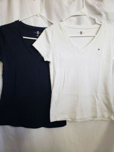 Tommy Hilfiger Navy White V Neck Medium Set of 2 S
