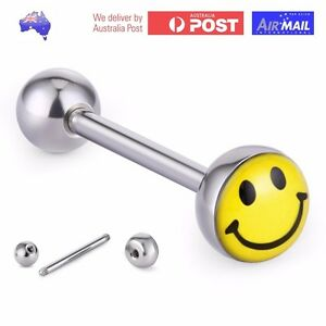 Steel-Smiley-Face-Emoji-Tongue-Ball-Bar-Barbell-14g-16mm-Piercing-Ring-Caption
