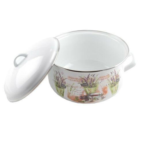 Topf,Kochtopf,Suppentopf,Emailliert,Emaille,22cm,4,8 L,Perfect Home,Lavendel,NEU