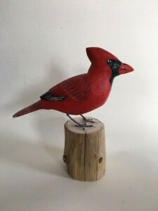 New-England-Home-Decor-Hand-Carved-Cardinal-Carving-Songbird-Maine-USA