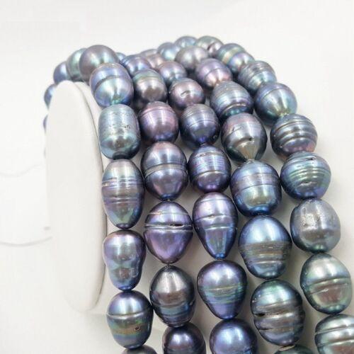 "Wholesale 10-12 mm grand Tahiti Baroque Noir Blanc Pearl Loose Beads 14/"""