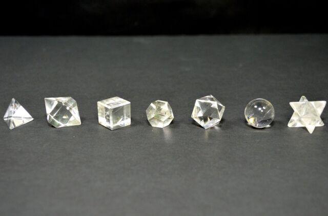 7pcs Clear Quartz Crystal Geometry Set in Wooden Box Platonic Solids - 1 Set