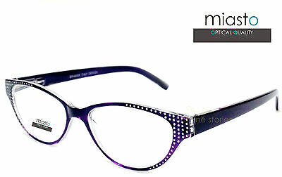 "~LOT OF 2~ MIASTO BLING ""CAT EYE"" SEXY READERS READING GLASSES SPECS+2.25 PURPLE"
