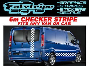 6m-Checker-Vivaro-Master-Primastar-van-graficos-Stickers-Calcomanias-Rayas-LDV-Fiat