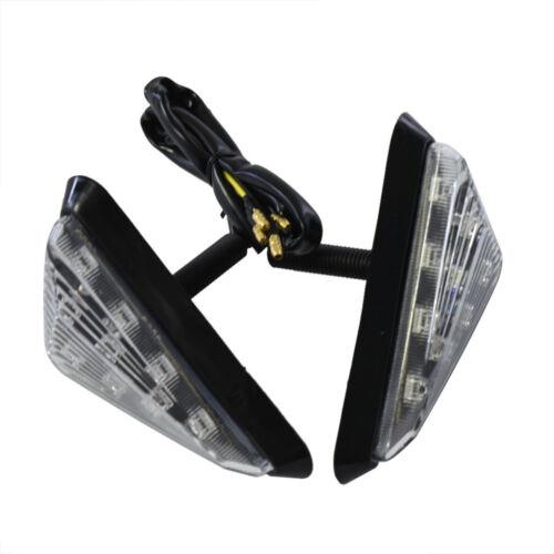 Pair Motorcycle LED Triangle Flush Mount Turn Signal Light Amber Lamp Universal