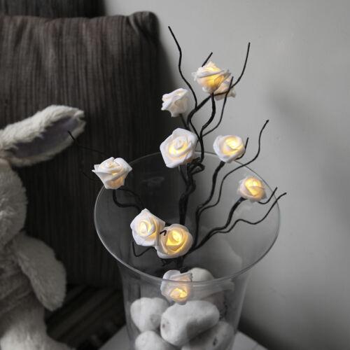 LED Rosenzweige weiße Rosen-Blüten mit TIMER Lichterzweige Deko Blüten-Zweige