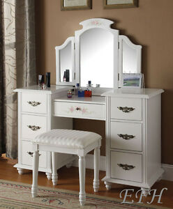 NEW FLORAL JEZEBELL WHITE FINISH WOOD 7 DRAWER VANITY TABLE w/MIRROR ...