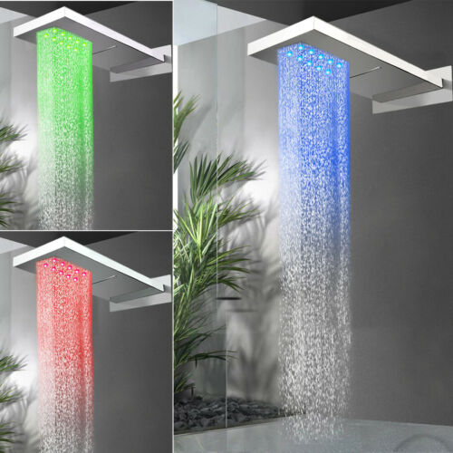 "LED 22/"" Rain Rectangle Shower 6 Body Massage Spray Jets Wall Mount Kit Chrome"