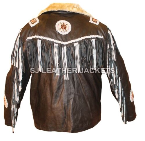 Western Indian Tribal Cowboy Fringed /& Beaded Real Leather Jacket