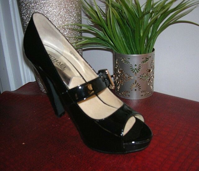 7634322dec47f MICHAEL Michael Kors Chandler Black Patent Leather Mary Jane Heel Shoes 7  new