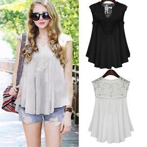 Plus-Size-Women-Summer-Lace-Splice-Blouse-Vest-Sleeveless-Tank-Top-Shirt-Tops