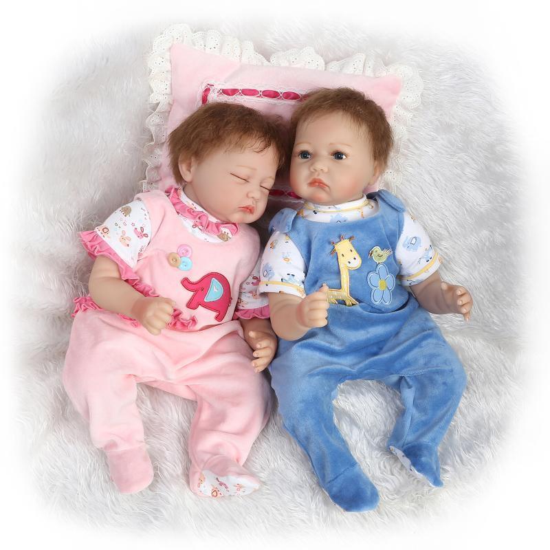 22  un par de vinilo de Silicona Reborn Bebé Muñeco bebés hecho a mano Realista Niño Niña