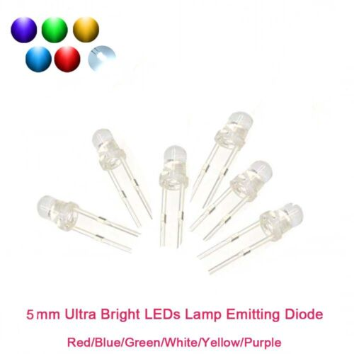 5mm Ultra Bright LEDs Lamp Emitting Diode Red//Blue//Green//White//Yellow//Purple F5