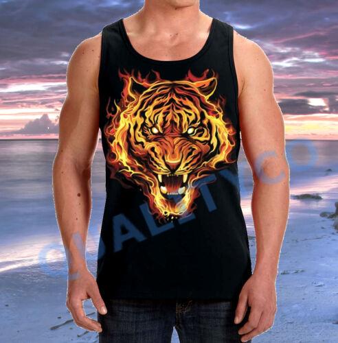 Men/'s 3D Fire Flaming Tiger Black Tank Top Animal Lion S-3XL Tee
