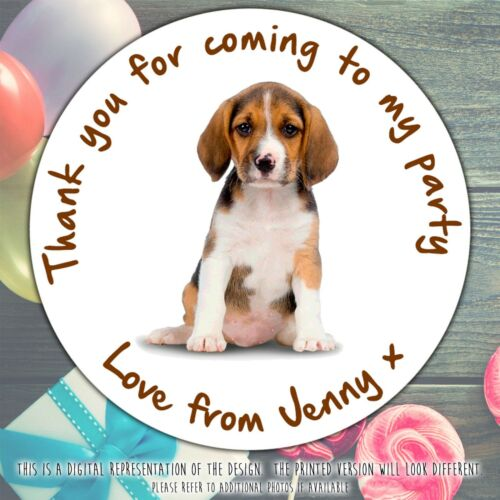 Personalised Puppy Dog Birthday Party round stickers labels party cone sheet