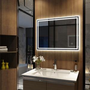 Details zu Led Spiegel mit Beleuchtung Badezimmer mit Touch, Antibeschlag  80x60cm Kaltweiß
