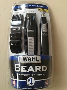 wahl cordless battery operated beard trimmer bonus ear nose and brow timme. Black Bedroom Furniture Sets. Home Design Ideas